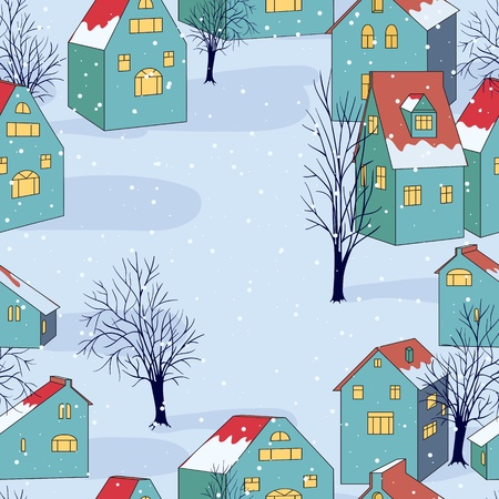Vector illustration with seamless pattern with houses. Vector