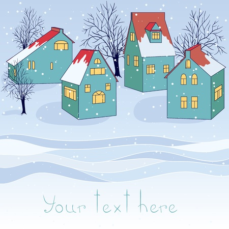 Vector winter card with houses and place for text. Vector