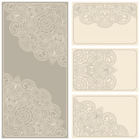 Vector vintage invitation card set. Template frame design for card. Vector Illustration