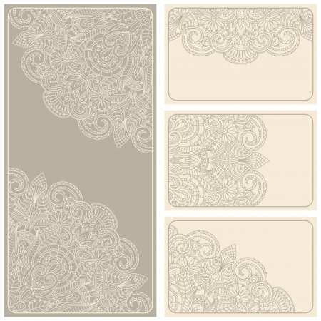 lace pattern: Vector vintage invitation card set. Template frame design for card. Illustration