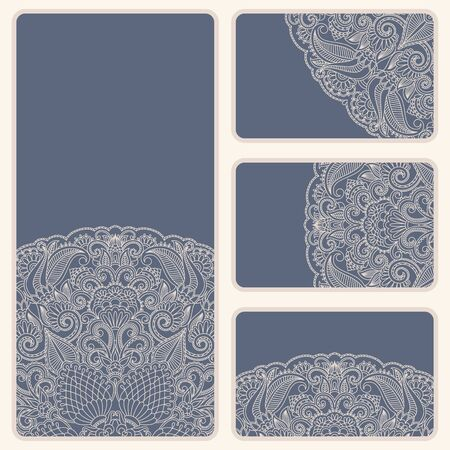 Vector vintage invitation card set. Template frame design for card. Vector