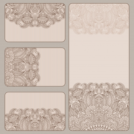 vintage invitation card set. Template frame design for card. Vector