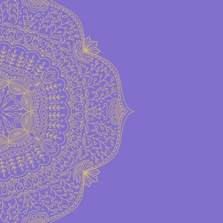 illustration with gold vintage floral pattern. Vector