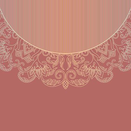 Illustration mit Vintage-Muster für Einladungskarte. Vektorgrafik