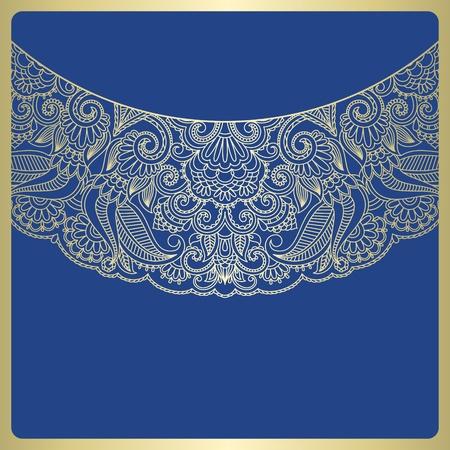 lace pattern:  gold vintage floral pattern. Illustration