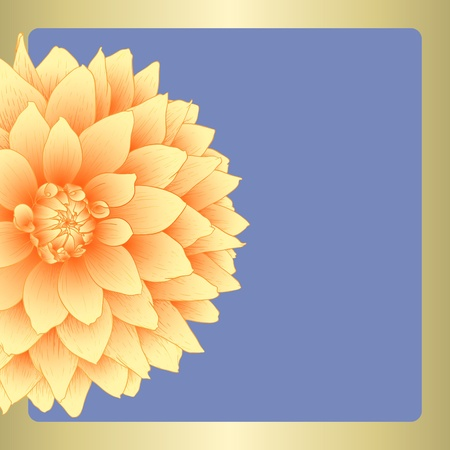 Vector illustration greeting card with dahlia flower. Vector