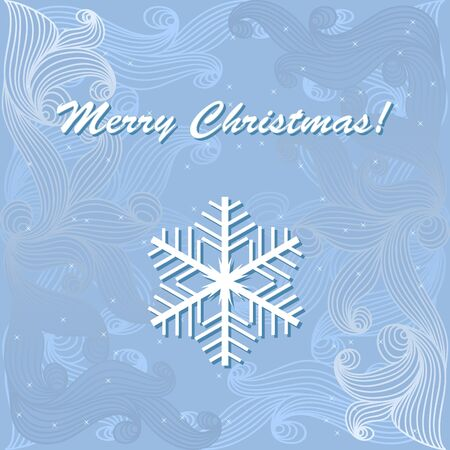 illustration with snowflake on blue winter background. Vector