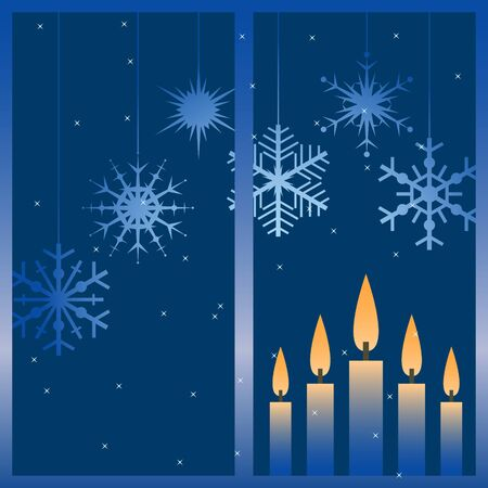 illustration with night winter window and snowflakes. Vector
