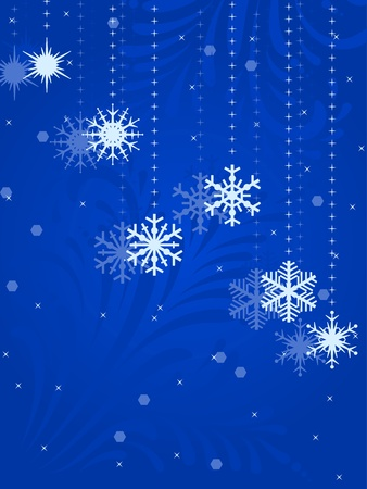 seasons greetings: illustration with snowflakes on blue winter background.