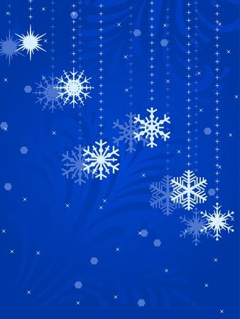 seasonal symbol: Ilustraci�n con los copos de nieve sobre fondo azul de invierno.