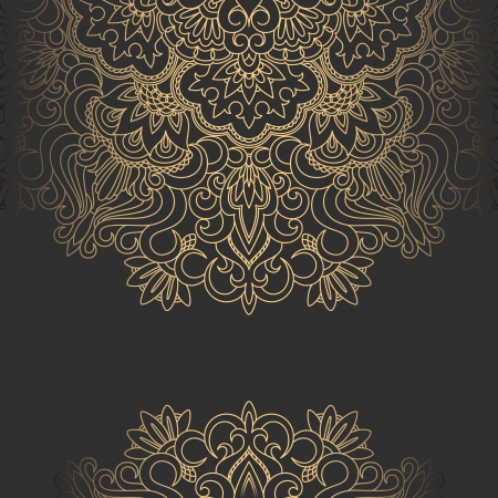 gold fabric: Vector illustration with vintage pattern for print. Illustration