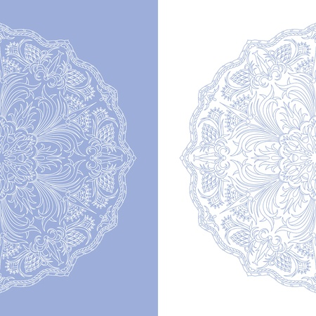 round: illustration with vintage pattern for print. Illustration