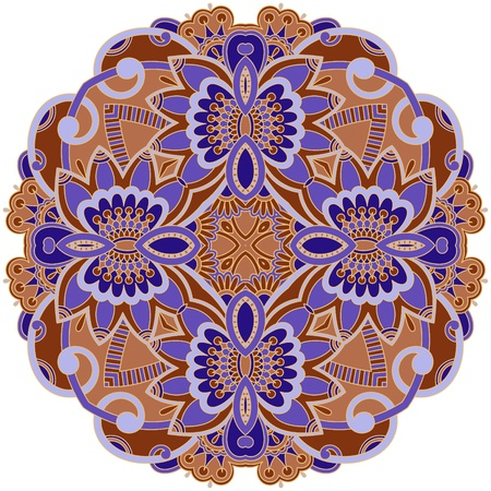 round: illustration with vintage pattern for print, embroidery.
