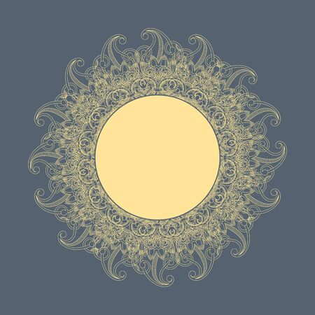 illustration with vintage pattern (sun) for greeting card. Vector