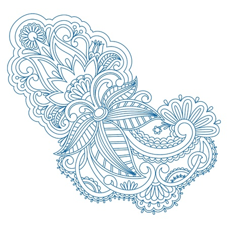 embroidery on fabric: illustration with vintage pattern for print, embroidery.