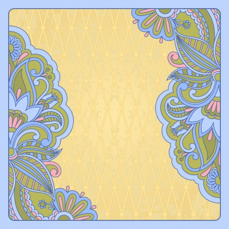 illustration with vintage pattern for greeting card  Vector