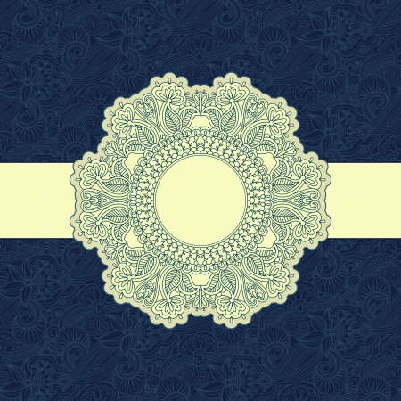 illustration with vintage pattern for greeting card. Vector