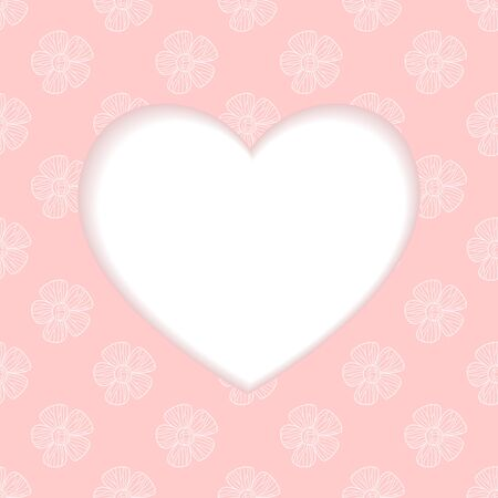 pink banner: heart from Valentines day card