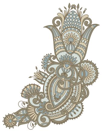 illustration with vintage pattern for print, embroidery. Vector