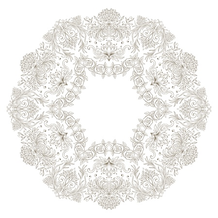 illustration with floral pattern for print, embroidery. Vector