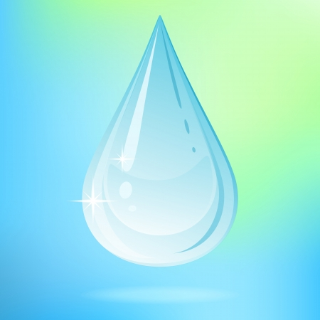 Vector illustration with water drop on colored background. Vector