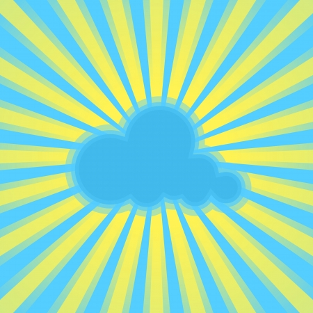 abstract blue background with sun rays and cloud.  Vector