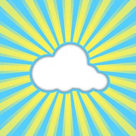 high beams: abstract blue background with sun rays and cloud.