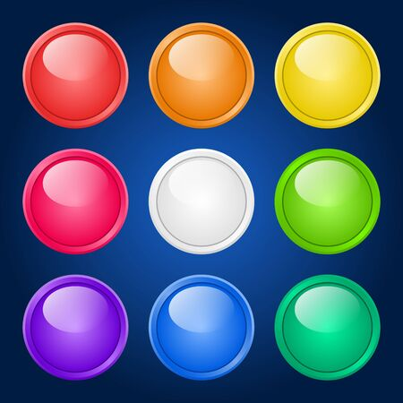 set of glossy colorful buttons on dark background. Vector