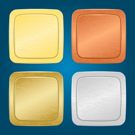 set of four miscellaneous metallic buttons. Illustration
