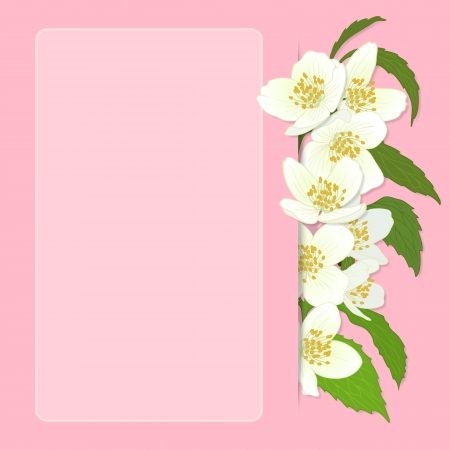 Vector illustration with cherry blossom for greeting card. Vector
