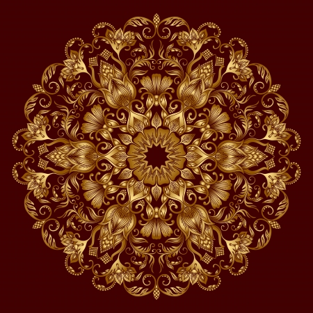 Illustration with vintage gold floral ornament. Stock Vector - 20307098