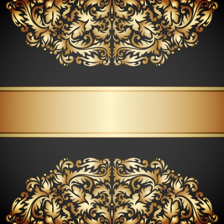 Illustration with vintage gold ornament and place for text. Vector