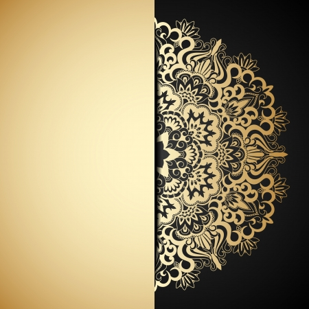 Vector illustration with vintage gold ornament and place for text.