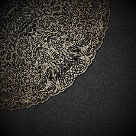 arabesque: Adornos florales oro de la vendimia con el lugar para el texto.