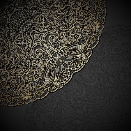 Vintage gold floral ornament with place for text. Vector