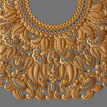 arabesque antique: illustration with vintage gold pattern for print, embroidery.