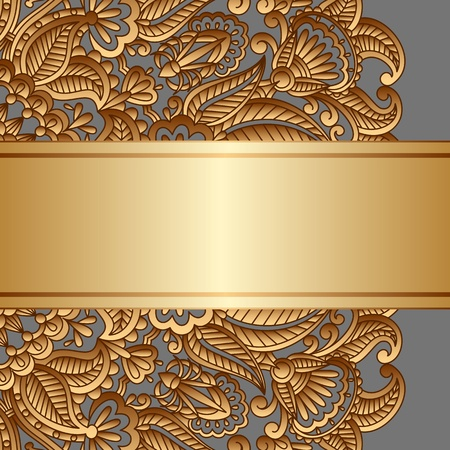Vintage gold floral ornament with place for text. Stock Vector - 20422568