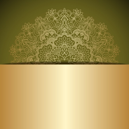 illustration with vintage gold ornament and place for text. Stock Vector - 20422581