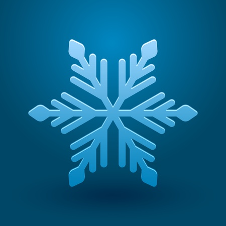 ice surface: Vector illustration with snowflake and shadow on blue background.