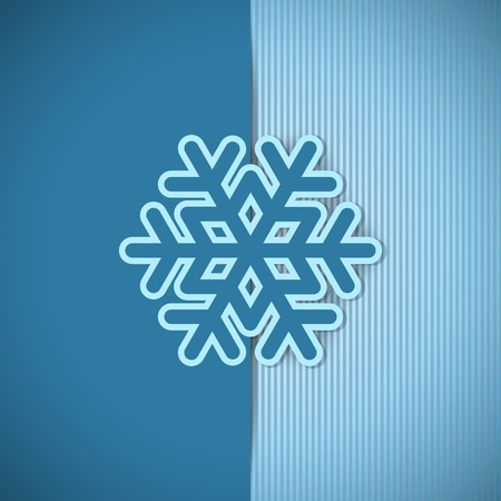 Vector christmas blue greeting card with place for text and snowflake. Illustration
