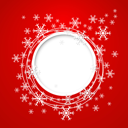 Vector christmas red greeting card with place for text and snowflakes. 일러스트