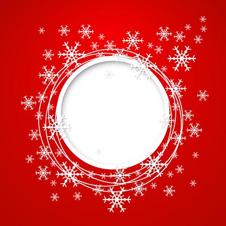 cold background: Vettore di Natale rosso con biglietto di auguri per il testo e fiocchi di neve. Vettoriali