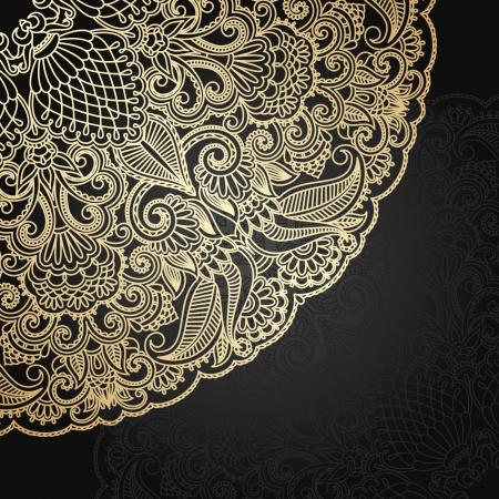 Vector illustration with vintage gold floral ornament. 일러스트