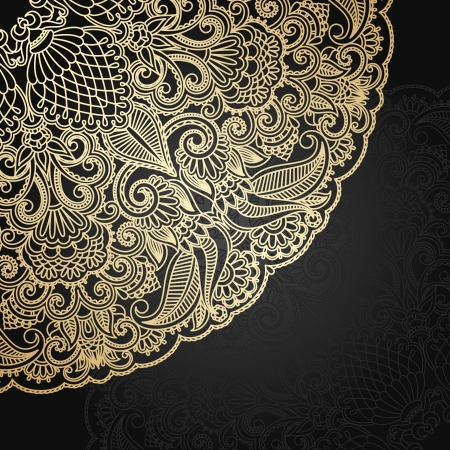 Vector illustration with vintage gold floral ornament. Vector