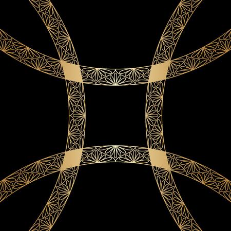 blumen verzierung: Vector Illustration mit Vintage Goldblumenverzierung.