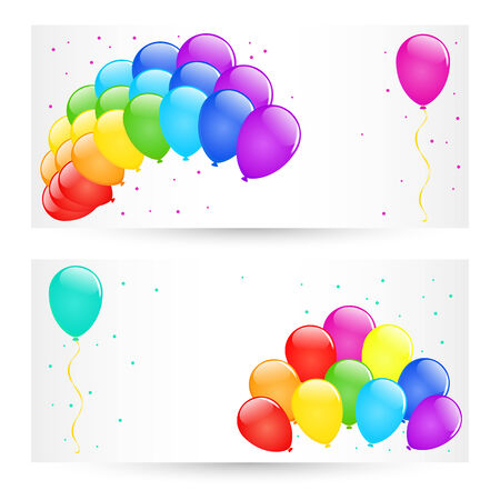 Vector holiday banners with colorful balloons.  Vector