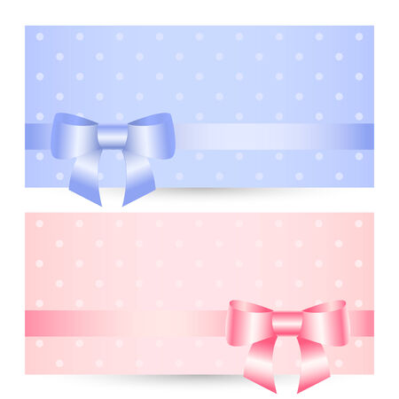 pink bow: Vector birthday greeting card with bow ribbon. Illustration