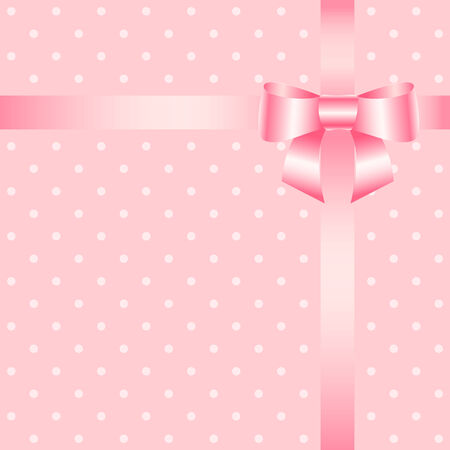 Vector birthday greeting card with bow ribbon. Vector