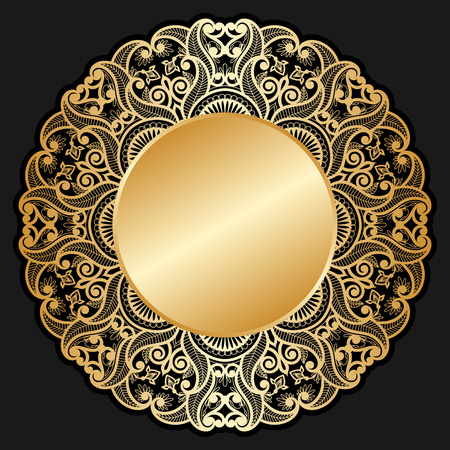 gold circle: Vector invitation cards with gold circle for text and lace pattern.