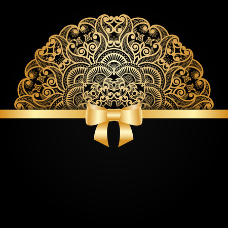 vector greeting card: Vector greeting card with vintage gold ornament and bow ribbon.